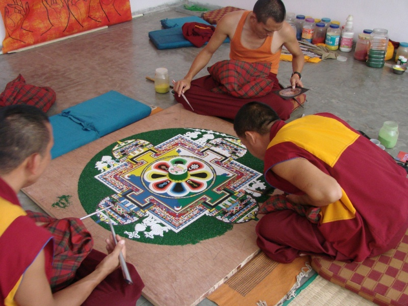 making of Tibetan Buddhism's Mandala made of colored sands.. – thinktibet.org