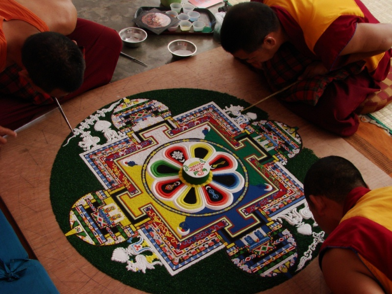 Tibetan Buddhism's Mandala made of colored sands..